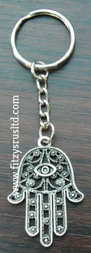 Hamsa Turkish Evil Eye Keyring Khamsa hand of Fatima Amulet Lucky Key Ring